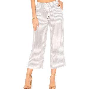Rails Agnes Cropped Linen Wide Leg Striped Pants